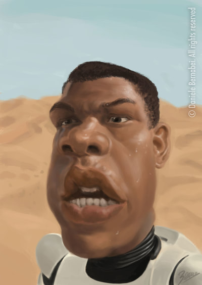 Caricatura di Finn da Star Wars - tecnica: digital painting
